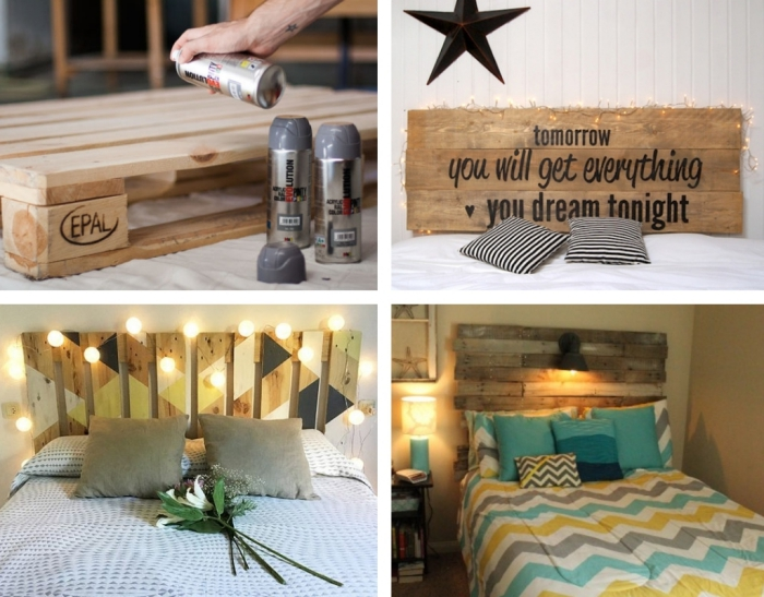 fabriquer une tete de lit en palette, modèle de meuble en palette diy avec décoration corde lumineuse ou lampe