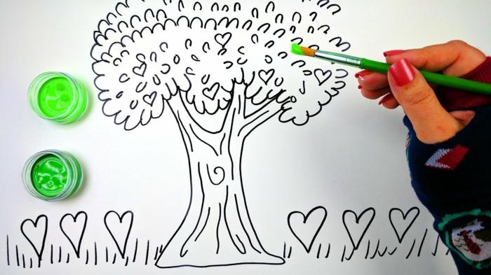 Tronc arbre dessin dessin d arbre facile dessin d arbres vert pour le tronc coeurs