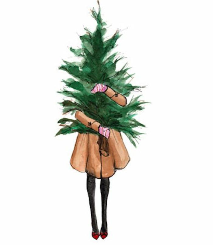 Un arbre dessin apprendre à dessiner un arbre cool idée fille qui porte arbre de noel
