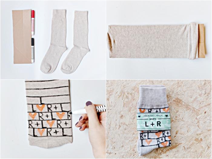 idée cadeau noel pour l'homme hipster, des chaussettes personnalisées avec un feutre textile