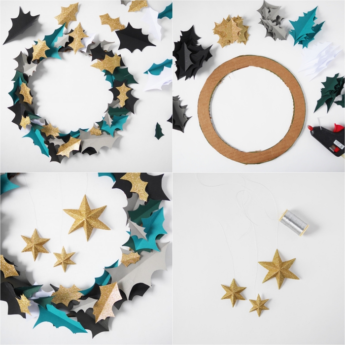 une couronne de l'avent facile à réaliser en feuilles de carton noires, bleues et dorées, deco noel a faire soi meme en carton