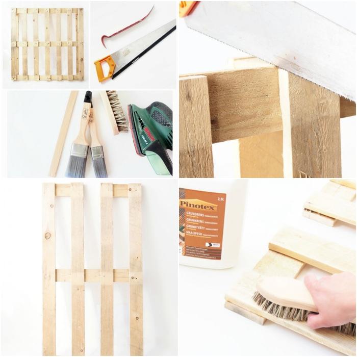tuto pour réaliser un banc palette facile avec deux pots comme support, les étapes de préparation de la palette