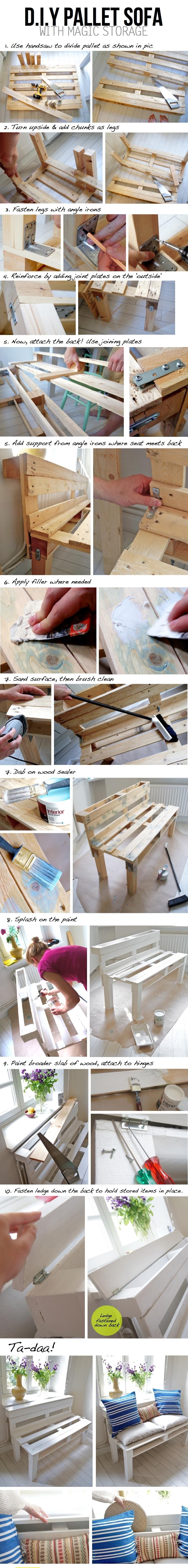 tuto pas-en-pas pour fabriquer meuble avec palette au design simple et épuré, fabrication d'un sofa avec des palettes récupérées