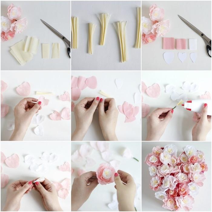 exemple de tuto fleur papier crepon avec un coeur en papier jaune frangé et pétales blanches et rose pour créer un bouquet romantique