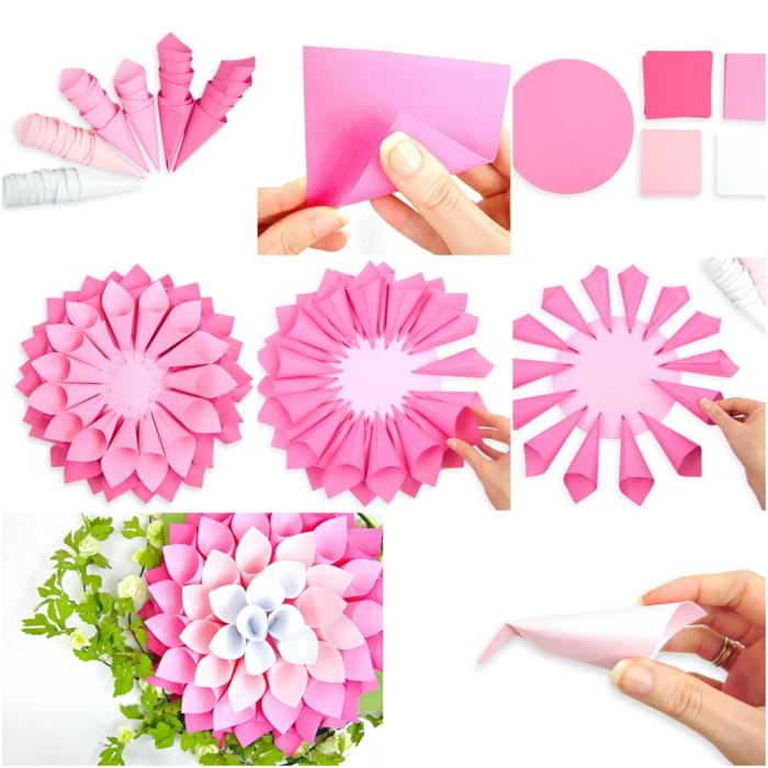 tuto fleur papier, des cornets couleur rose arrangés sur une cercle en papier, bricolage simple présenté étape par étape