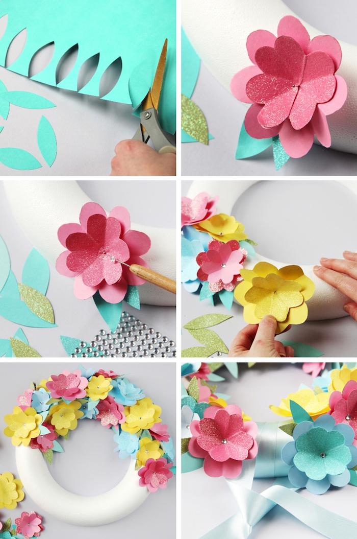 comment faire des fleurs en papier, des fleurs simples en papier colorés pour constituer une couronne fleurie