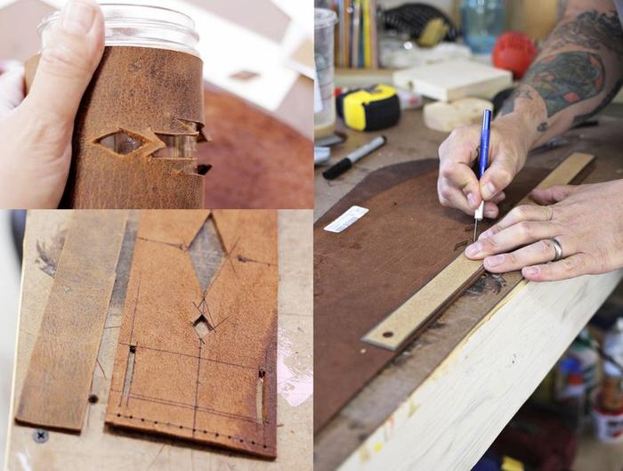 idée originale pour un cadeau de noel pour homme à réaliser soi mêle, la création d'un manchon de tasse à café en cuir au design masculin
