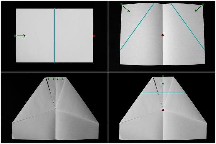 tuto pliage avion papier facile à réaliser, schéma de pliage d un avion planeur modèle delta