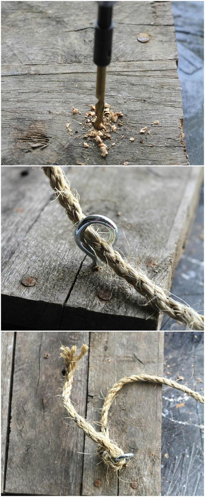 tuto pour fabriquer une table de chevet palette avec des planches de bois récupérées et des cordes