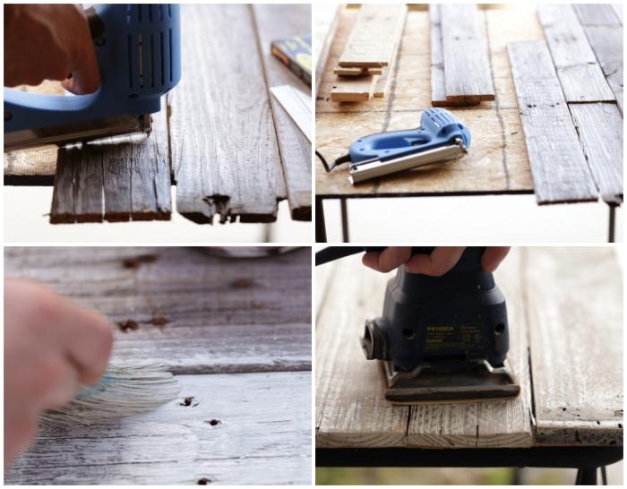 tete de lit palette, étapes à suivre pour assembler les planches de bois sur le support et appliquer une couche de peinture blanche