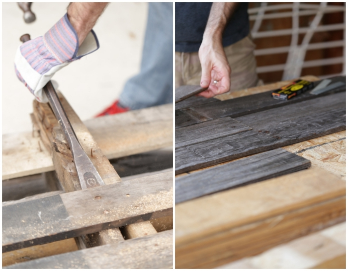 tete de lit en palette, instructions pour démonter les planches de bois et les couper de la même taille