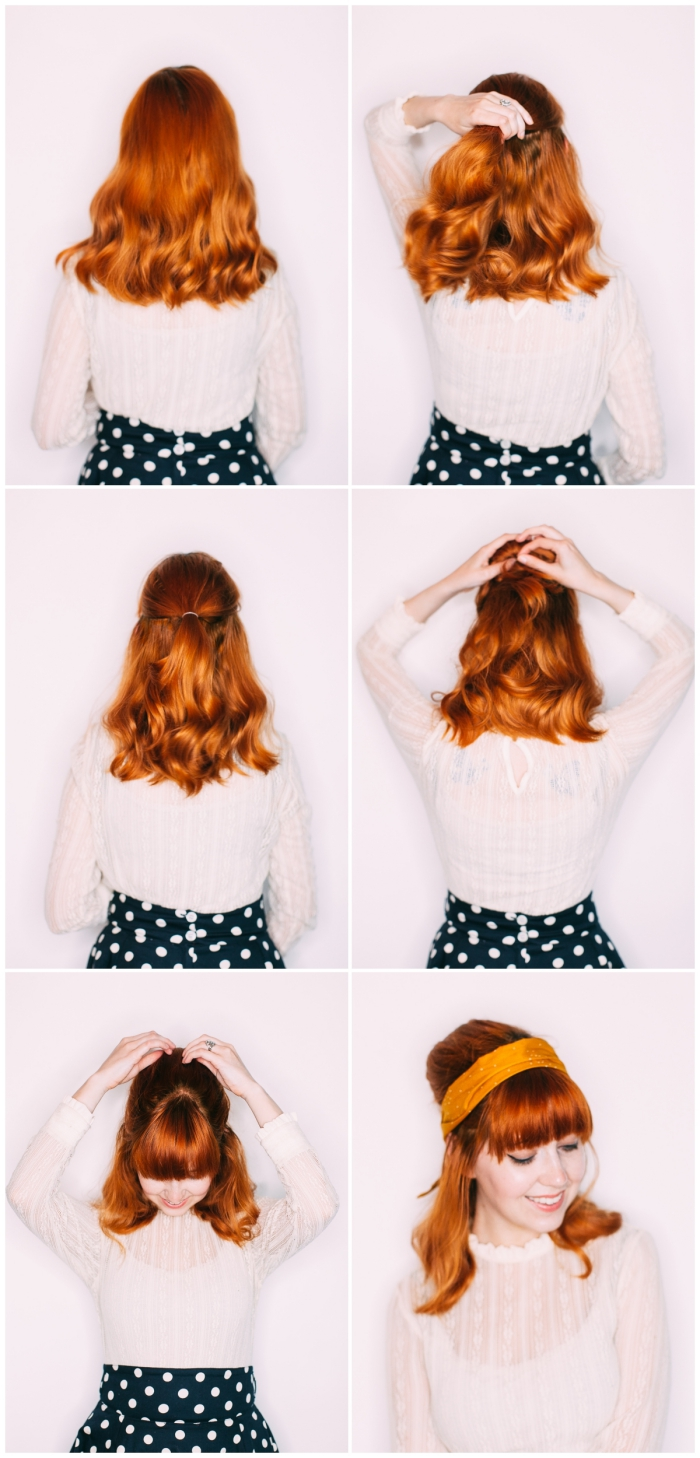 tuto coiffure cheveux mi long, étapes à suivre pour faire une demi queue de cheval avec volume sur le haut et frange