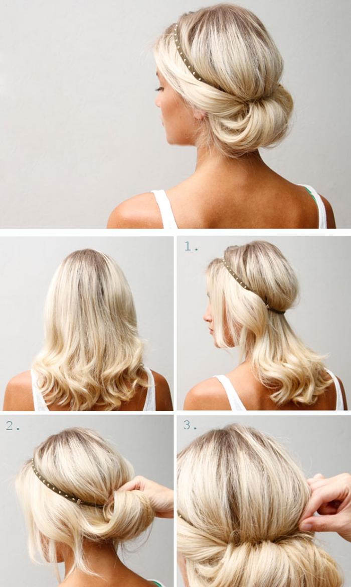 comment faire une coiffure facile pas à pas avec bandeau, cheveux attachés avec bandeau