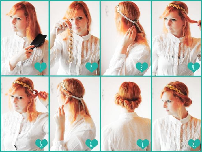 étapes à suivre pour se coiffer les cheveux mi-longs avec bandeaux en or et à design florale