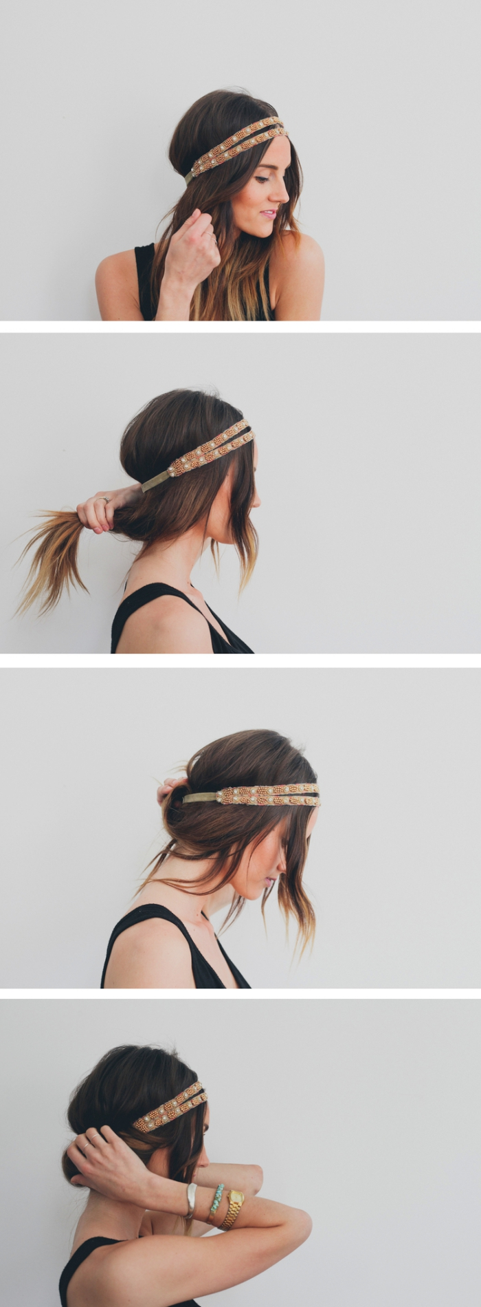 tutoriel avec les étapes à suivre pour faire une coiffure facile aux cheveux attachés avec bandeau marron