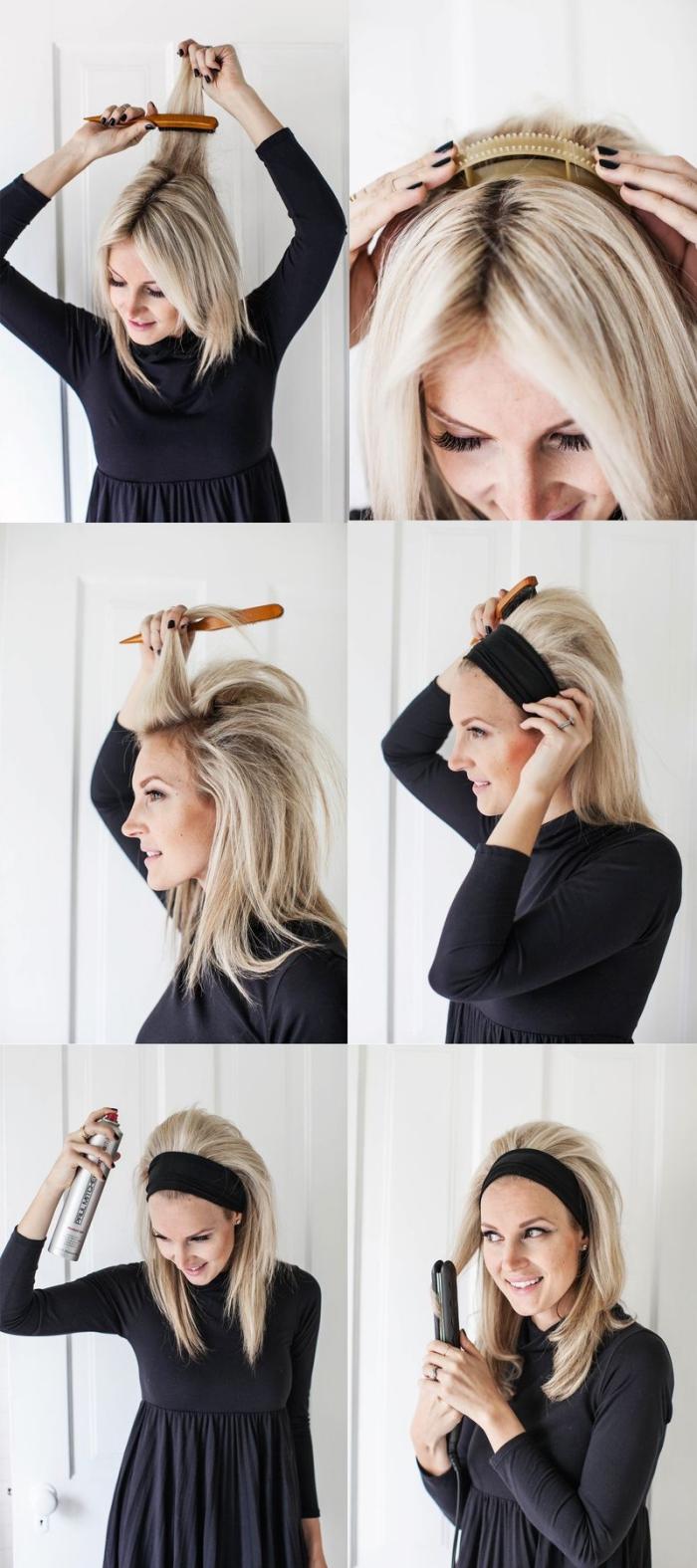 étapes à suivre pour faire une coiffure facile sur cheveux longs et raids, cheveux blond cendré avec ruban noir