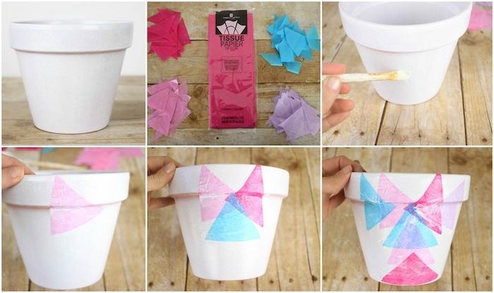 tuto pour fabriquer un pot de fleur personnalisé de triangles de papier de soie en bleu, rose et fuchsia, cadeau pour la fête des mères a fabriquer
