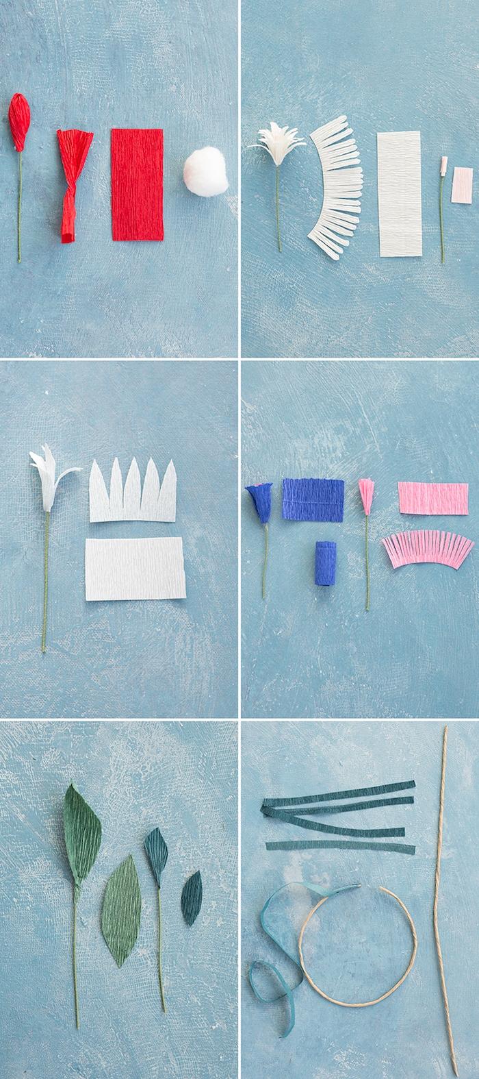 des techniques simples pour faire une fleur en papier crepon soi meme, bandes de papier frangées et non frangées