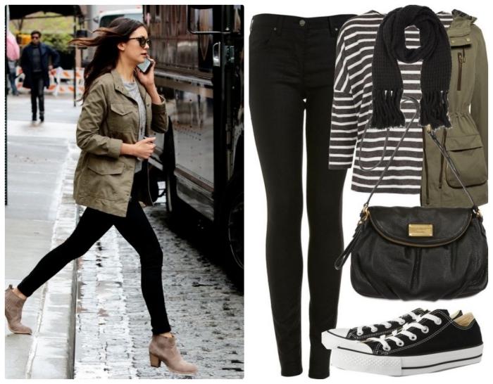les couleurs qui vont ensemble pour s habiller, pantalon slim noir porté avec blouse grise et veste kaki