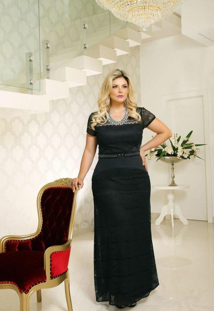 robe femme ronde de cérémonie, manches courtes en dentelle noire, bustier, taille soulignée, partie jupe droite en dentelle noire