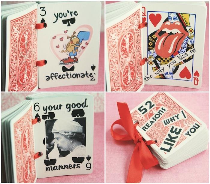cadeau st valentin pour elle, des cartes de jeux amusants avec 52 raisons pour lesquelles de j taime