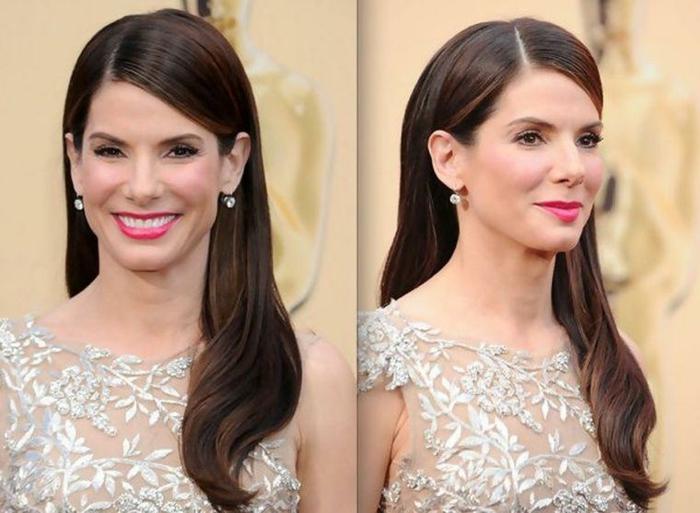 robe magnifique couleur champagne, Sandra Bullock, coiffure style rétro très jolie