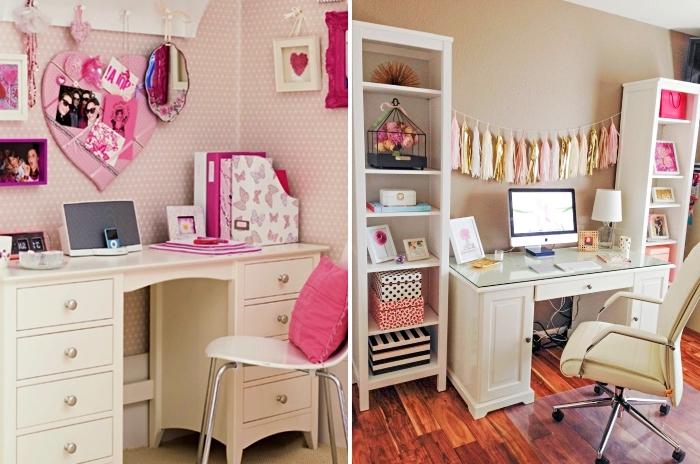 astuces pour arranger le bureau dans la chambre ado fille, décoration avec cadre photo et miroir en rose