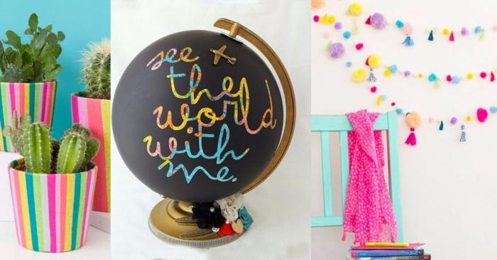objets décoratifs à fabriquer soi-même pour la chambre ado fille, globe du monde noir matte à design lettres inspirantes