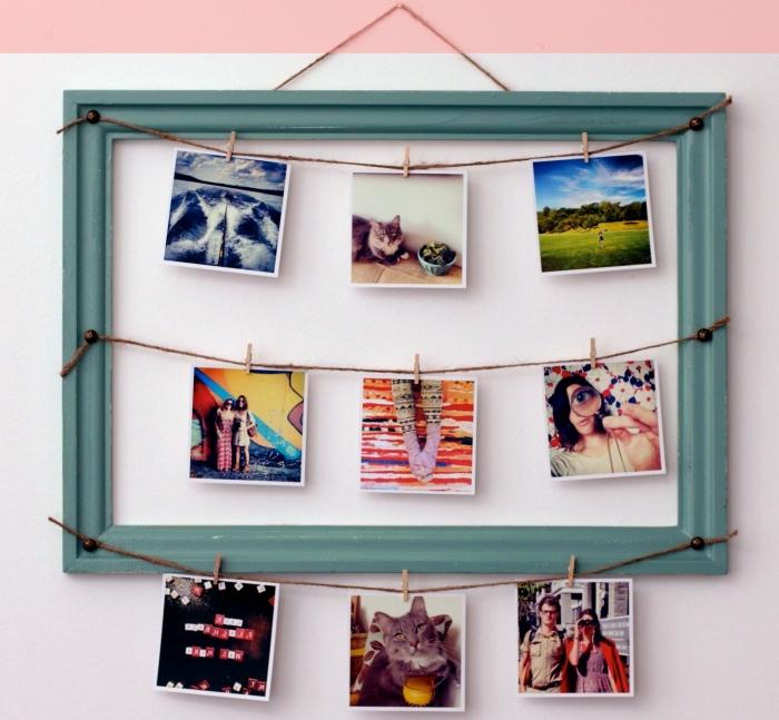 que faire avec des photos personnelles, idée déco chambre ado fille avec cadre photo vide et fil beige