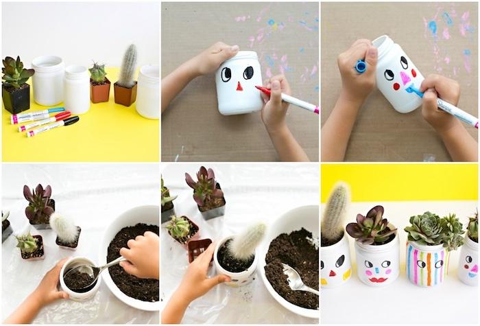 exemple d activité manuelle maternelle, repeindre un pot en verre en blanc avec dessin enfant et planter une plante dedans, cactus, méthode montessori