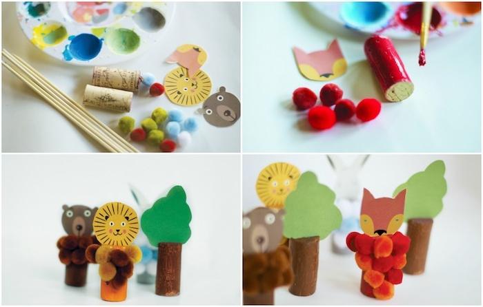 activité montessori avec recyclage de bouchons de liège, têtes d animaux en papier et pompons colorés, bricolage enfant facile