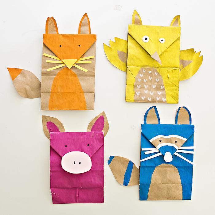 méthode montessori, distinguer les animaux, idée d animal en sachet kraft coloré, activité manuelle primaire simple, recyclage en crèche
