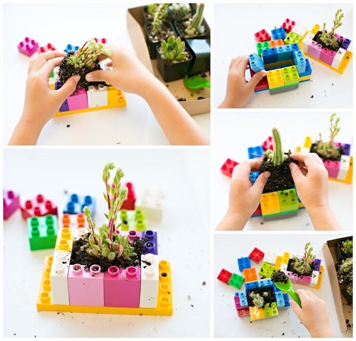 idée comment fair eune jardiniere avec des pièces lego et une plante plantée dedans, activité montessori, jardinage précoce