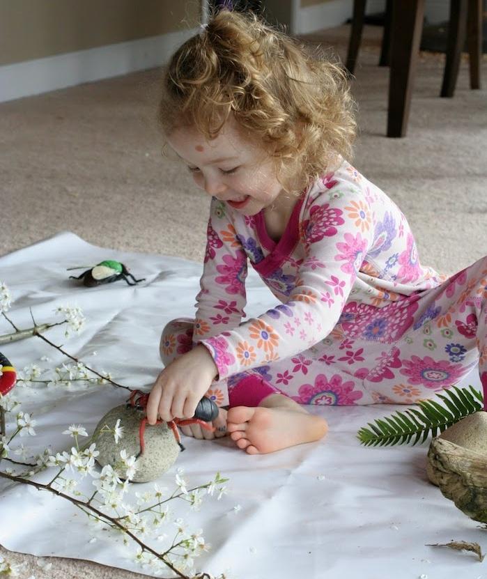 découvrir les trésors de la nature, maternelle montessori nature et decouverte, observer des objets naturels, pierres, brindille fleurie, insectes en plastique