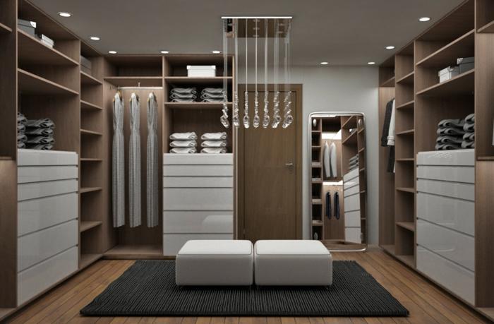 amenagement dressing, armoires penderies en angle, étagères et tiroirs, un rangement en bois élégant