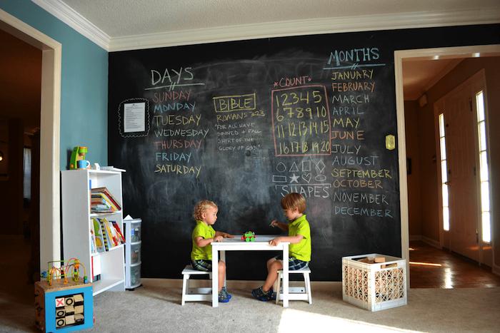 aménagement coin coin de jeux avec un mur en tableau ardoise ludique et éducatif, notes colorées, meuble bibliothèque enfant blanche, meubles bas, chambre montessori