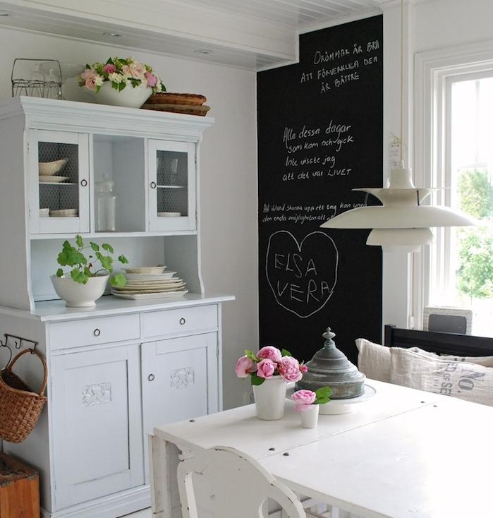 comment amenager une salle a manger avec un pan de mur en peinture à la craie, vaisselier blanc vintage, table et chaises retro, deco style shabby