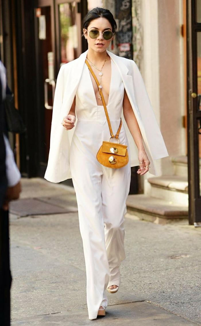 Fashion tenue de soirée femme ronde tenue tendance Vanessa Hudgens blanc tailleur chic