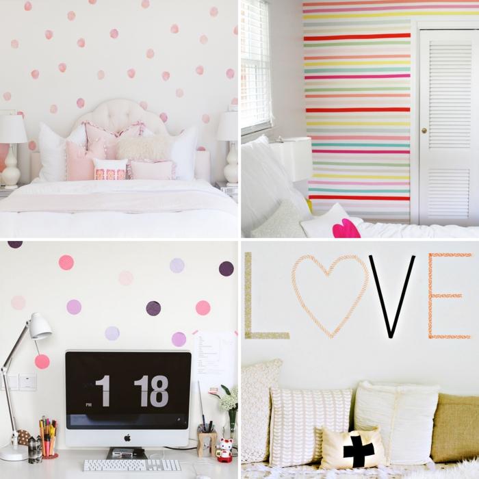 diy déco chambre aux murs blancs décorés de washi tape coloré, tête de lit boutonné blanche et coussins décoratifs de nuance pastel