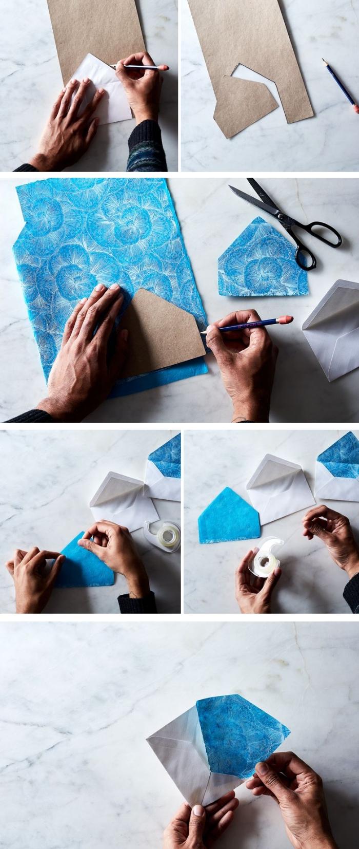 comment faire une enveloppe en papier, personnaliser une enveloppe en utilisant papier coloré et scotch