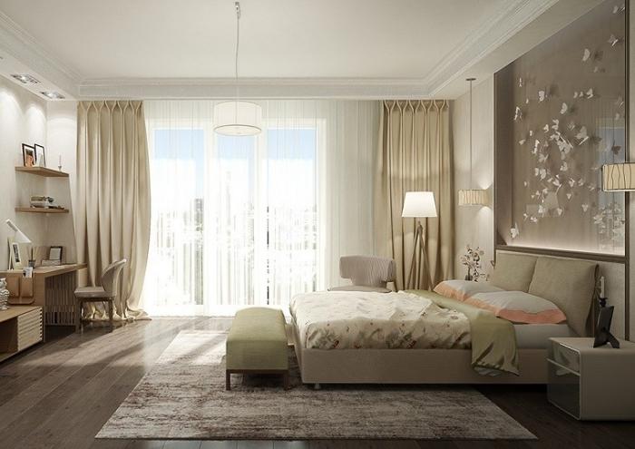 meuble chambre design et luxueux de couleurs neutres et bois, plafond blanc avec décoration en plâtre et éclairage led