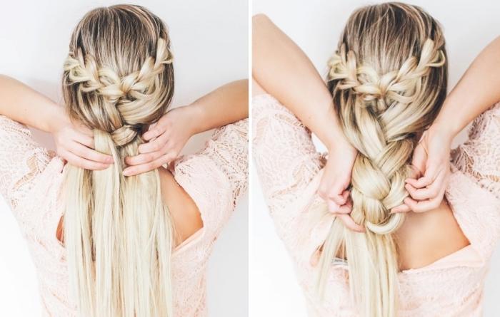tendance coiffure, comment procéder pour réaliser une coiffure avec deux tresses diagonales attachés en grande tresse