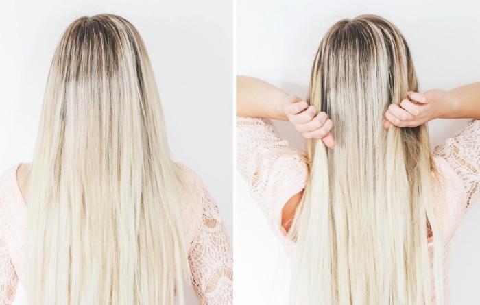 modele coiffure femme, cheveux longs et raids colorés avec la technique balayage blond en racines foncées
