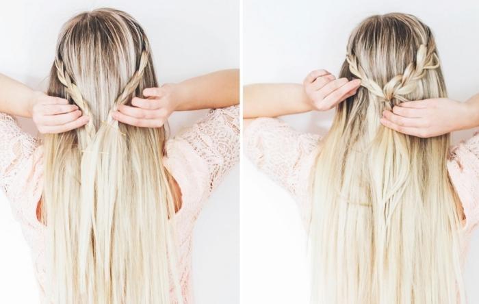 tendance coiffure, étape à suivre pour faire une coiffure en cheveux mi-attachés avec deux tresses diagonales