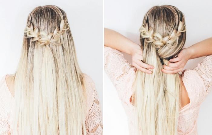 modele coiffure femme, instructions pour attacher ses cheveux longs et raids en tresse originale