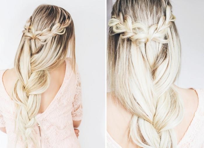 modele coiffure femme, cheveux longs avec racines marron et mèches blondes attachés en tresse flou