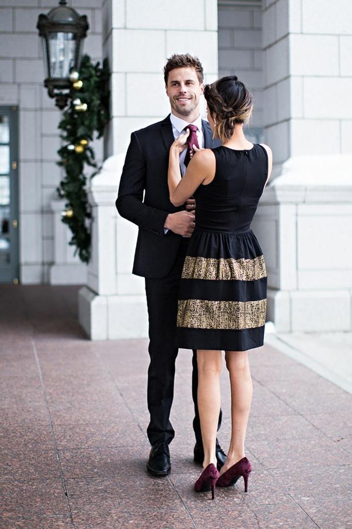 Allure tenu de soirée femme robe ceremonie tenue tendance robe noir et doré trop cool chaussures rouges