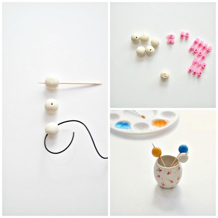 idée comment faire un bracelet diy avec des perles blanche en fimo colorées et monogramées, modele pate fimo
