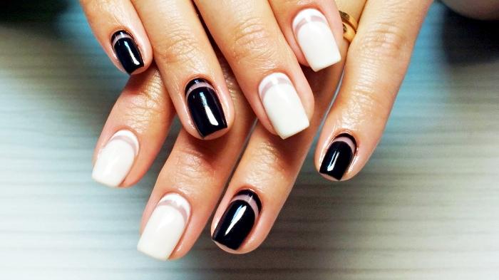 manucure blanc et noir sur ongles mi-longs, ongles en gel à design élégant et stylé
