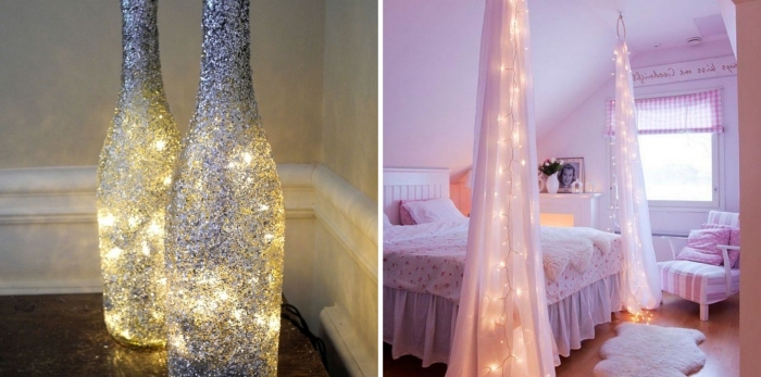 diy déco chambre lumineuse avec bocaux féeriques en guirlande et peinture glitter argentée